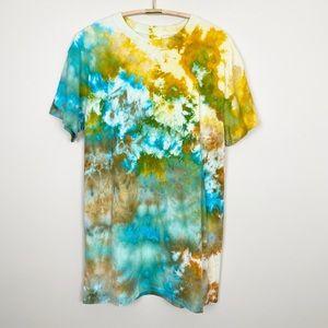 Tie Dye T-Shirt Dress L Abstract Trendy Comfy